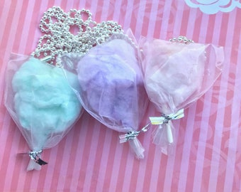 Cotton candy necklace, food necklace, miniature food, fake food jewelry/ carnival cotton candy