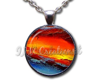 Lava Nature Glass Dome Pendant or with Chain Link Necklace PT129