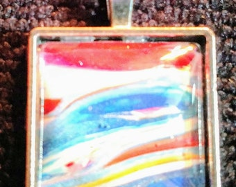 Hand painted necklace - Square - Red/White/Blue