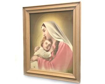 Madonna and Child Framed Vintage Print, Virgin Mary and Baby Jesus Lithoprint, Framed 1940 N.G. Basevi Litho Virgin Mary and Baby Jesus