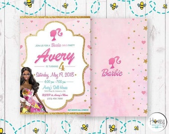 African American, Barbie, Girl, Party, Birthday, Digital, Invitation, Pink, Barbie's Dream House, Doll.