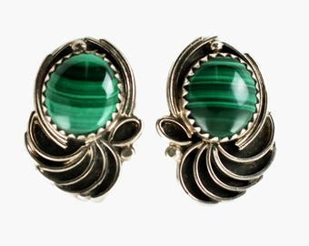 Vintage Malachite and Sterling Silver Artist Signed Earrings