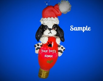 Black and White Japanese Chin Dog Santa Christmas Light Bulb Ornament Sallys Bits of Clay PERSONALIZED FREE with dog's name