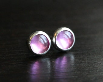 Pink sapphire post earrings, pink studs, bezel set, lab created sapphire gemstone, 6mm, small studs, metalwork, sterling silver
