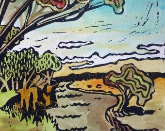 River scene hand painted linoprint