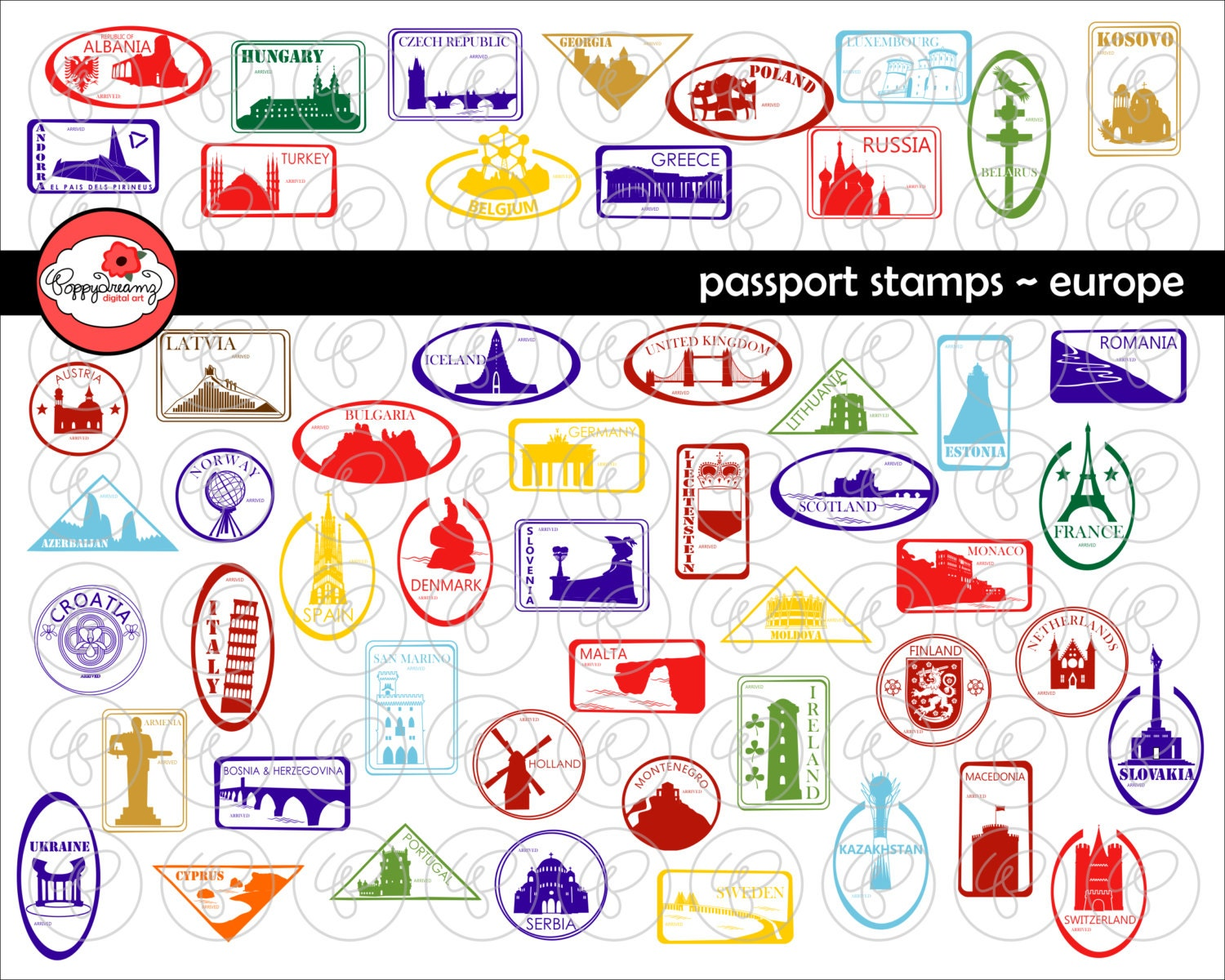 Passport stamps european landmarks and national symbols zoom biocorpaavc Images