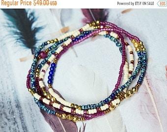 MEMORIAL DAY SALE Ruby Bracelet, Lapis Bracelet, Wrap Bracelet, Beaded Bracelet, Boho Bracelet, Seed Bead Bracelet, Stretch Bracelet, Boho J