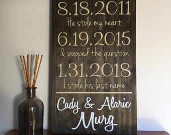 Our Story Sign - Last Name Sign - Top Seller - Date Sign - Engagement Wedding - Established Date - Engagement Date - Wedding Date