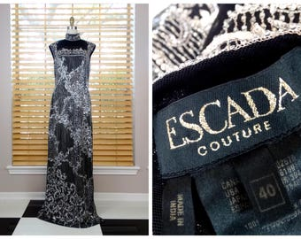 STUNNING Escada Couture Sequined Beaded Gown // Black and Silver Hand Beaded Sequin Embellished Designer Gown 40