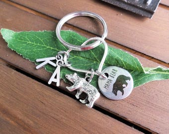 MAMA BEAR KEYCHAIN on heart with initial for each child - Choose keyring or clasp - One flat rate shipping in my shop :)