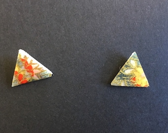 Washi paper stud earrings - pink, red & gold floral pattern