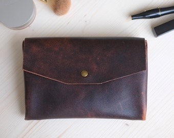 Leather Cosmetic Bag, Leather Make Up Bag, Toiletry Bag, Leather Makeup Case, Small Leather Clutch, Leather Cosmetic Pouch,  Make Up Bag