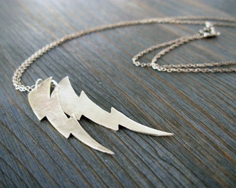 Flash Gordon. Double Lightning Bolt Pendant. Sterling Silver Hand Cut on Long Chain. Hand Craft Recycled Unisex Rough Silver Necklace.