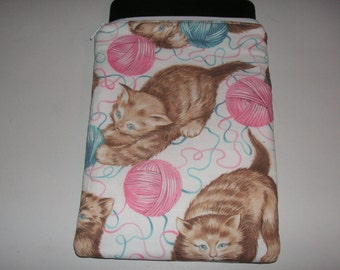 "Cat kitten novelty handmade zipper fabric 7"" mini ipad Galaxy Kindle Fire Nexus case sleeve cover pouch tablet"