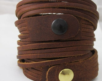Leather Wrap Bracelet Cuff  - Oil Tanned Leather - 6 Strand - Double Wrap -  Ranch Hand