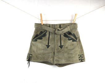 KIDS SIZE Vintage Leather Suede German Lederhosen Boy's Shorts