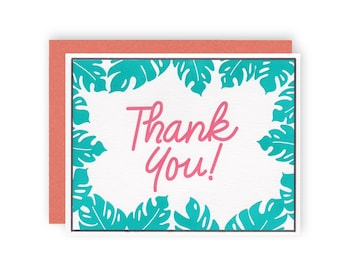 Thank You Palm - Letterpress Thank You Card