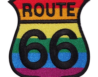 Rainbow Route 66 Sign Embroidered Iron / Sew On Patch Gay Pride Flag Shirt Badge