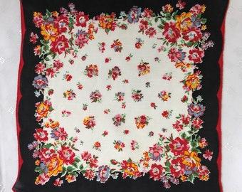 Handkerchief, floral, black border hankie, vintage, border print