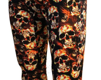 Flame Skull Meggings, Men's Leggings, Festival Clothing