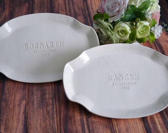 Parent Wedding Gift - Thank you Gift for Parents - Set of Personalized Platters - Gift Boxed