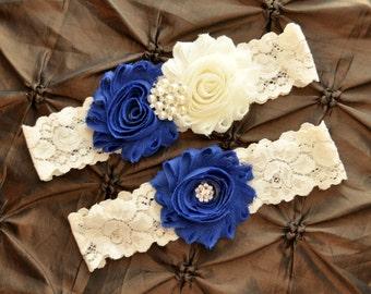 Blue Wedding Garter, Bridal Garter Set - Ivory Lace Garter, Royal Blue Wedding Garter, Royal Blue Garter, Wedding Garter Set, Something Blue