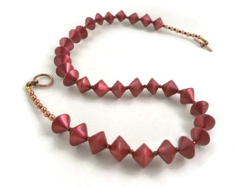 Red beaded necklace handmade clay bicone beads polymer clay
