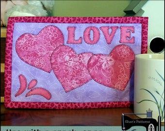 PDF Pattern for Valentine Hearts Mug Rug, Valentine Mug Rug Pattern, Valentine Mini Quilt Pattern - Sewing Pattern, Tutorial, DIY