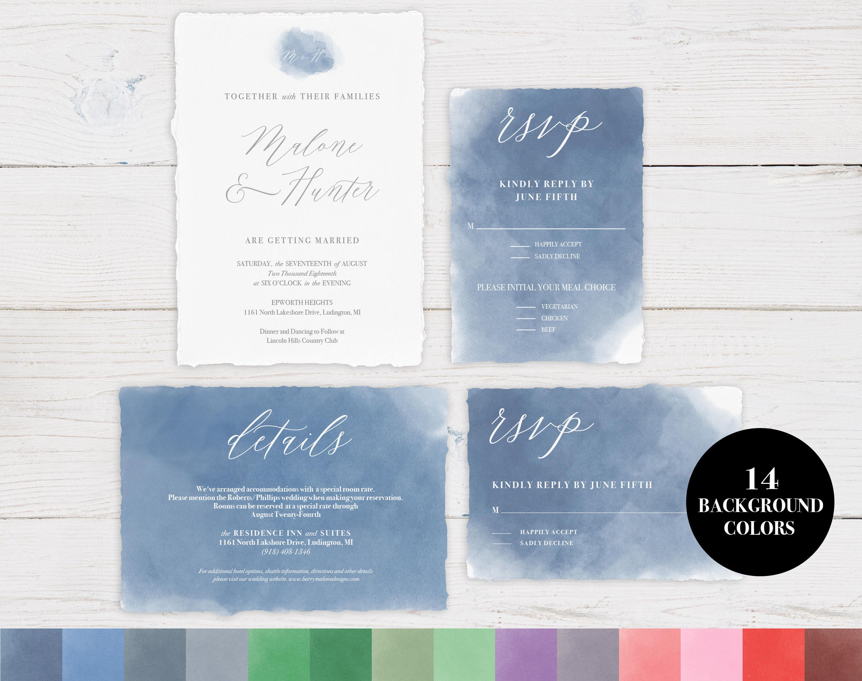 Watercolor Wedding Invitation Template, Wedding Invitation, DIY ...
