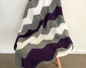 Crochet chevron blanket   ready to ship