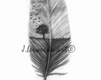 Pencil Drawing Print - Reach High - Day 310