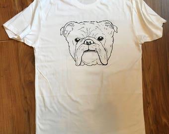 Bulldog Tattoo shirt, bulldog shirt, white bulldog shirt, 100% cotton bulldog shirt, BulldogTat2 shirt