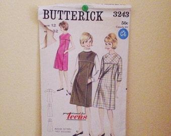 REDUCED 1960s Sewing Pattern | Butterick Pattern 3243 | Shift Dress Pattern | Size 12