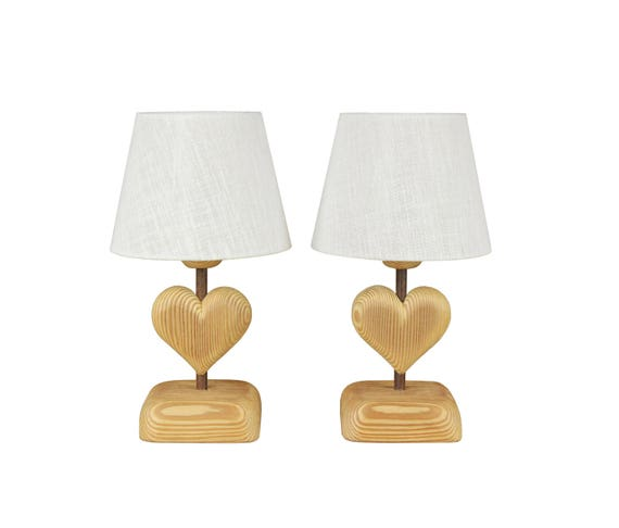 Heart shaped table lamp set lampshade petite from alpinedecor on etsy studio