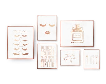 SET of 6 Prints, Fashion Prints, Makup Prints, Minimalist Art, Rose Gold Foil, Fashion Set,Modern Wall Art, Bathroom Prints, Glamour Posters