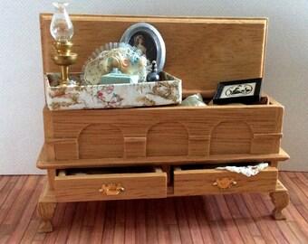 Miniature One Inch Scale Filled Antique Trunk