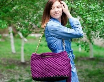 Everyday bag on a long chain Plum Bag Shopper bag Travel bag Eco friendly bag for women