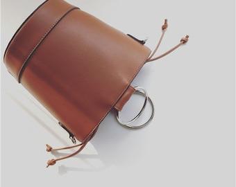 Drawstring Bucket Bag with Metal Handle