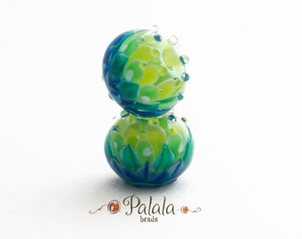 Pair of blue and green Lampwork Glass Beads for earrings, Dahlia lampwork beads, Petal lampwork beads