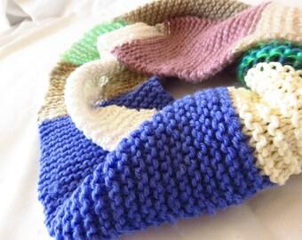 Pastel Patchwork - Handknit cowl