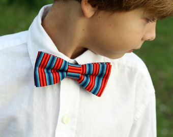 Mens red blue bow tie - blue red wedding tie - fourth of july - red bowtie - groomsmens tie - orange red blue ombre striped - gift for him