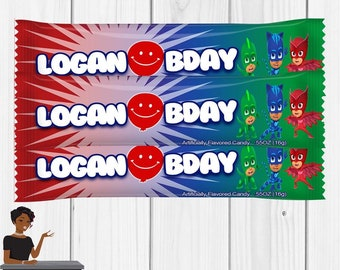 Pj Masks Party, PJ Masks Airheads , PJ Masks Party Favors, PJ Masks Decor, Chip Bag,Digital or Printed and Shipped