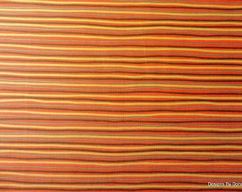One Fat Quarter Cut Quilt Fabric, Thin Stripes in Orange, Yellow, Brown & Tan by Greta Lynn for Kanvas, Sewing-Quilting-Craft Supplies