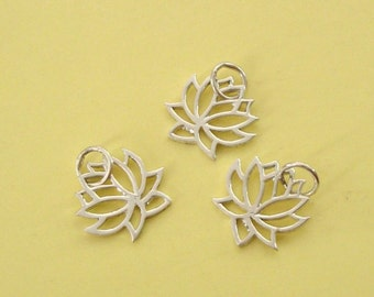 3 Pieces, Lotus Charm, Sterling Silver .925, with Open Ring, 14.8x13.3mm, SCHP234