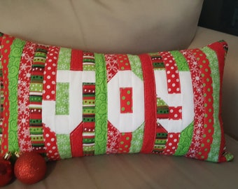 Christmas JOY Decorative Quilted Throw Pillow Cover 12x22