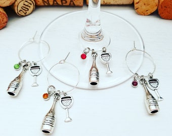 4 Wine Charms, Wine Glass Charms, Vineyard Theme Gift - Wine Charms, Wine Birthday Favors, Wine Gift, Wine Accessories, LasmasCreations