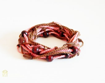 Crochet Bracelet  and Necklace in one piece . Simple, beautiful and lightweight