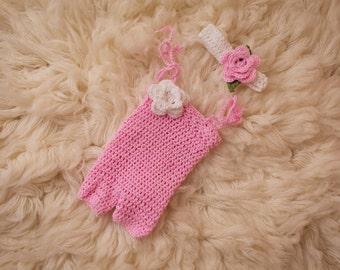 Crochet Newborn Romper and Headband Set