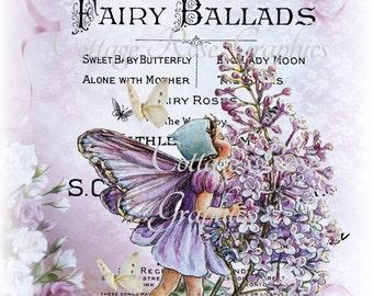 Purple Lavender FAIRY ballads printable digital image download vintage roses Fairies Buy 3 Get one Free