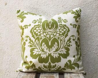 Throw Pillow, Green Damask, green throw pillow, damask pillow, 18x18 pillow, couch pillow, 1 pair - ct104B